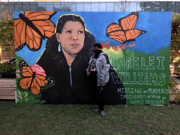 [S]heroes Among Us mural by Priscilla Bell at Drexel, featuring Lorelei Williams - a missing and murdered Indigenous Womxn and Girls Advocate