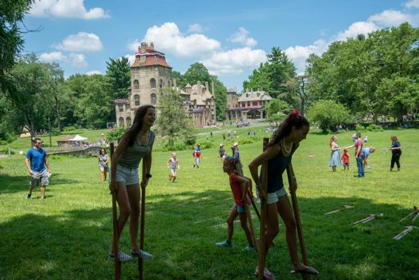 Kids playing at the Castle Grounds during the Old Fashion Fourth of July