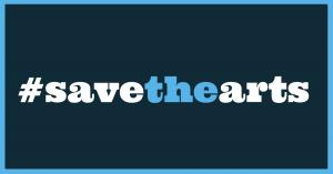 Save the Arts Facebook banner in blue