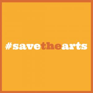 Save the Arts Instagram image in orange