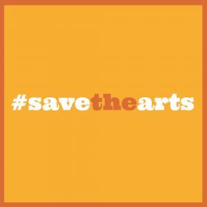 Save the Arts Instagram image in orange