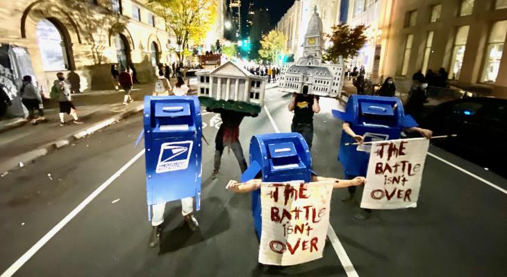 Mailbox puppets dancing to help protect the counting of ballots during the 2020 presidential election